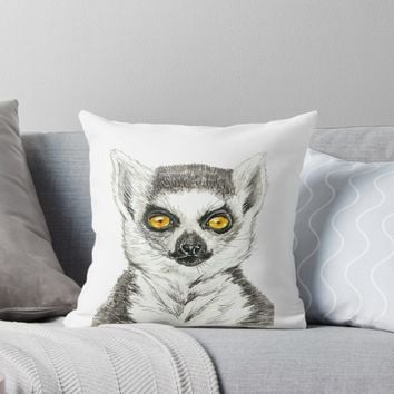 'Lemur' Throw Pillow by Katerina Kirilova