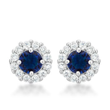 Belle Sapphire Blue Round Halo Stud Earrings | 2.5ct