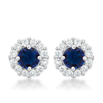 Belle Sapphire Blue Round Halo Stud Earrings | 2.5ct | Cubic Zirconia