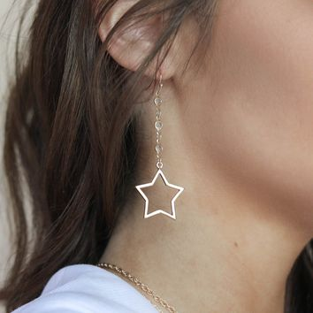 Starlet Gold Rhinestone Star Earrings
