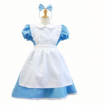 blue alice in wonderland costume for kids dress lolita Maid Cosplay Carnival halloween Costumes For Kid Children girls party