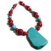 Coral Bamboo Beaded Necklace - Southwestern Style Jewelry - Turquoise Stone Necklace - Turquoise Beaded Necklace - Long Sweater Necklace