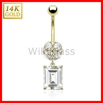 14k Solid Gold 14g Belly Button Ring Asscher Cut Square Dangle Flower 14k Yellow Gold 14g Navel Ring Navel Jewelry Belly Button Jewelry