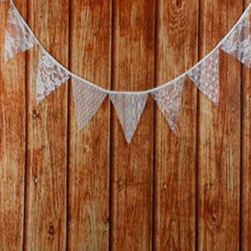 Lace Fabric Garland Flag Bunting Pennant Banner Decoration Photo Prop - PRF106