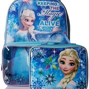 Disney Girls' Frozen Backpack with Lunch Window Pocket Hand Wash Large front pocket