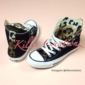 Customized Converse with Leopard - any size/color- made to order