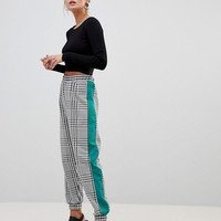 ASOS DESIGN Jogger In Check With Side Stripe at asos.com