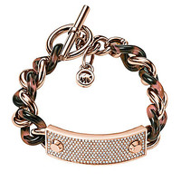 Michael Kors Link All Over Clear Pave Plaque Toggle Bracelet - Rose Go