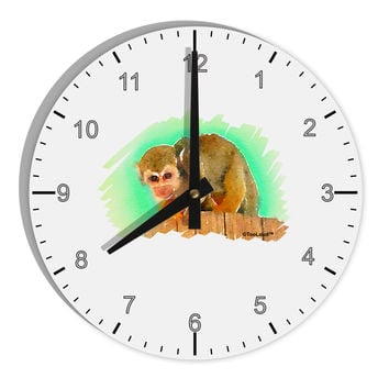 """Squirrel Monkey Watercolor 8"""" Round Wall Clock with Numbers"""