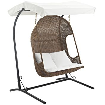 Vantage Outdoor Patio Swing Chair With Stand Brown White EEI-2278-BRN-WHI-SET