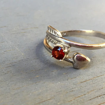 Arrow Ring Vintage Sterling Silver Heart Arrow Red Gemstone Bypass Ring Cupids Arrow RJ Graziano Avon