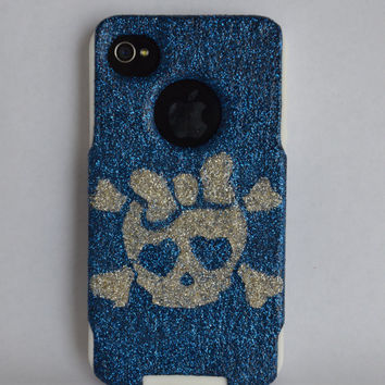 iPhone 4 4s Cute Otterbox Commuter Scull glitter case,  Custom  Glitter Scull Blue / White Otterbox Color Cover for iPhone 4 4s