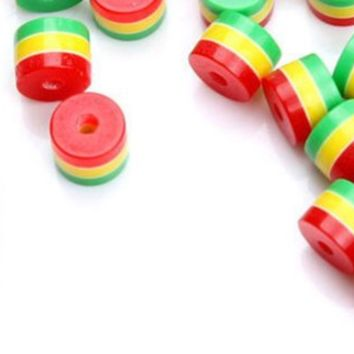 Pack of 100 Rasta Beads. 8mm Diameter. 9mm length. Jamaica Reggae Stripes. Perfect for Art, Crafts, Macrame, Weaving & Jewellery Making