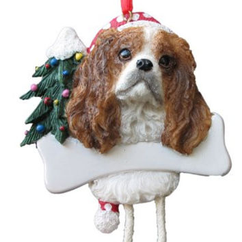"King Charles Ornament with Unique ""Dangling Legs"" Hand Painted and Easily Personalized Christmas Ornament"