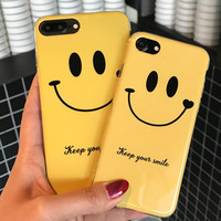Smiling face Case For Iphone 7 Case Tpu Painting Soft Silicone Back Cover For Iphone 6 6S 7 Plus Phone Case