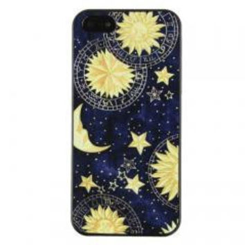 Sun Moon Space Pattern Hard Back Skin Case Cover for iPhone 5 5S