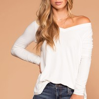 Missy Ivory Long Sleeve V-Neck Top