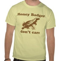 Honey Badger Don't Care T-shirt from Zazzle.com