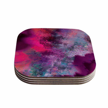 "Nina May ""Mineral Pink "" Purple Watercolor Coasters (Set of 4)"