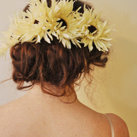 Cream and Brown Bohemain Wedding Hair Flower Fascinators by SewRed