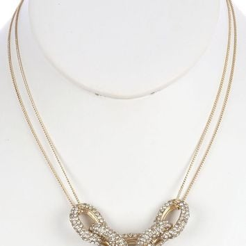 Clear Pave Crystal Stone Chunky Metal Link Necklace
