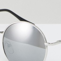 ASOS 90s Metal Round Sunglasses With Silver Mirrored Lens at asos.com