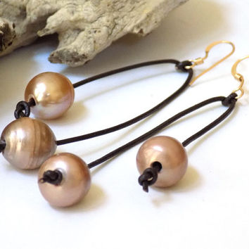 Leather Earrings, Pearl Earrings, Brown Earrings, Handmade Earrings, Handcrafted Jewelry, Long Earrings, Unique Earrings, Gift for Her