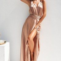 Perfect Date Satin Maxi Dress (Mocha)