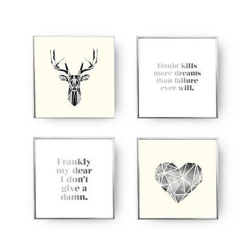 SET of 4 Prints, Frankly My Dear, Scandinavian Print, Home Decor, Geometric Set, Gold Foil Print, Quote Poster, Geometric Deer, Hear Print