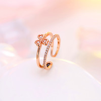 Gift Shiny New Arrival Jewelry Korean Stylish Leaf Double-layered 925 Silver Accessory Ring [7652917895]