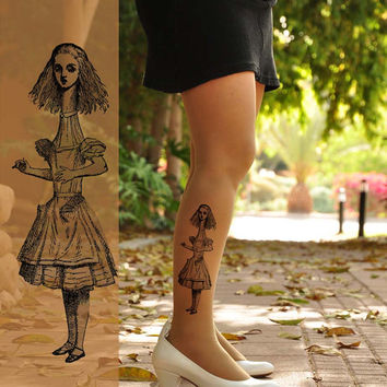 ALICE  in  WONDERLAND /   Tattoo Tights- size  S / M  full length Pantyhose- Light Mocha, Gray, Pink or Nude