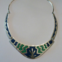 Vintage Alpaca Mexican Lapis and Malachite Inlay Necklace Bib Choker Mexico Jewelry Boho Trbal Spring Summer