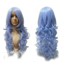 "Cool2day® 30"" Anime Costume Long Wavy Hair Cosplay Wig (Model: Jf010133) (Ice Blue)"