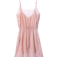 Fleur Du Mal Leavers Lace and Georgette Slip - Pink Slip - ShopBAZAAR