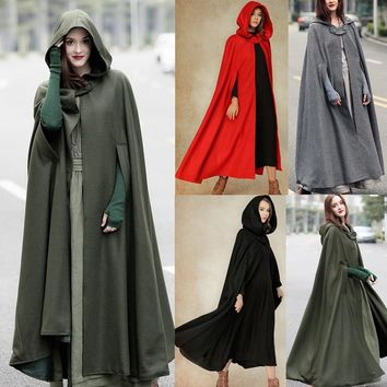 2018 New Arrival Women Hooded Coat hooded Cloak hooded Cape cosplay cloak XS-5XL 4 colours