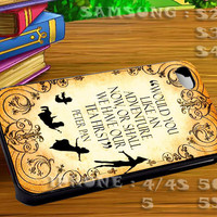 Peter Pan Quote For iphone 4 iphone 5 samsung galaxy s4 / s3 / s2 Case Or Cover Phone.
