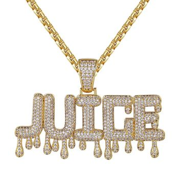 14k Gold Finish Iced Out Dripping Juice Custom Pendant Chain