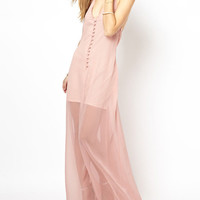 V-neck Backless Mesh Overlay Chiffon Maxi Dress