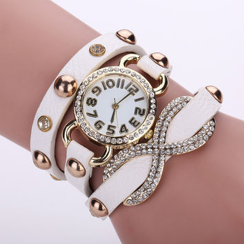 New Arrival Shiny Awesome Great Deal Hot Sale Gift Stylish Ladies Watch Rivet Ring Bracelet [8863747591]