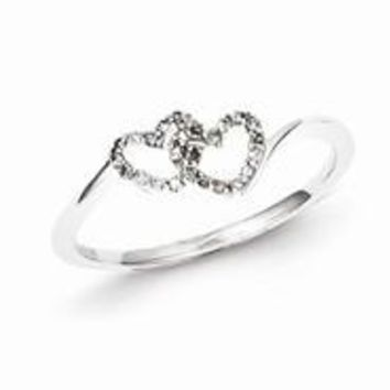 Sterling Silver w/Rhodium Plated Diamond Double Heart Promise Ring