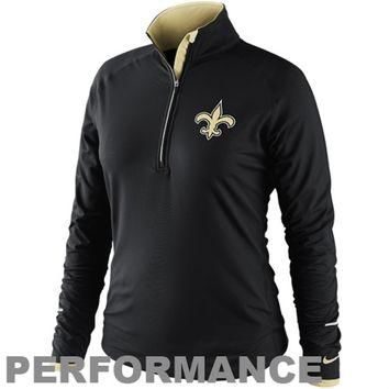 Nike New Orleans Saints Women's Conversion Half Zip Performance Jacket - Black
