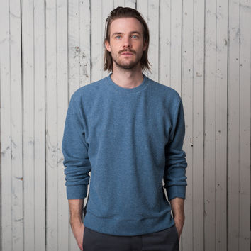 The Plaza Pullover   Blue Fleck French Terry