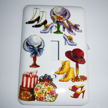 Victorian hats and shoes single light switch cover