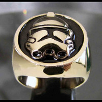 Bronze STORM TROOPER RING Death Star Imperial Star Wars Jewelry - Custom Fitted Sizes