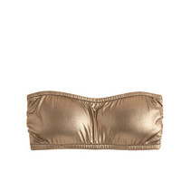 J.Crew Womens Metallic Gold Bandeau Bikini Top