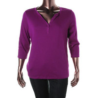 Karen Scott Womens Plus Knit 3/4 Sleeves Pullover Top