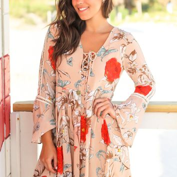 Taupe Floral Print Bell Sleeve Short Dress