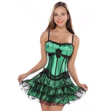 stripe green corset top with cup and mini skirt with shoulder straps bustier sexy lace lingerie Carnival dress body shaper