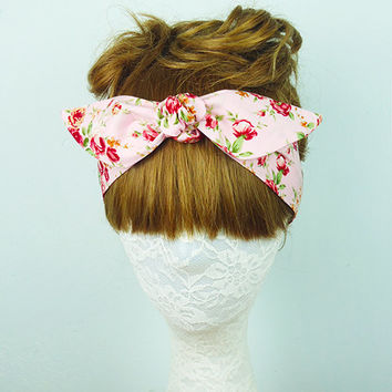 Pink Floral headband, Hair Wrap, Roses headband, Hair Accessories, Women's headband, Twist turban, knot headband, yoga headband, headpiece