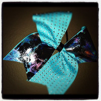 "Turquoise, Pink, Black Metallic on 3"" Turquoise Grosgrain - Cheer Bow"